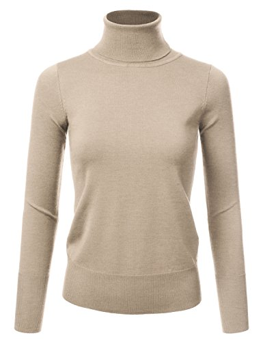 JJ Perfection Women's Stretch Knit Turtle Neck Long Sleeve Pullover Sweater Khaki (Long Sleeve Pullover Knit)