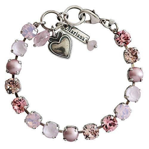Mariana Antigua Silvertone Classic Crystal Tennis Bracelet, Pink Rose 4252 223-1 ()