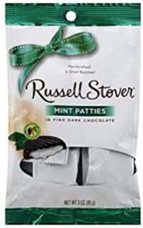 Russell Stover Chocolate Mint Patties , Dark Chocolate, 3 Packages of 3 Oz Bags.