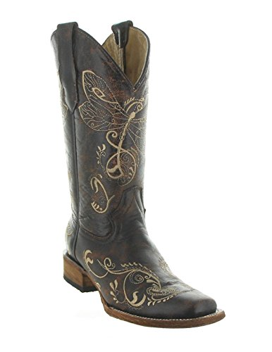 Circle G Womens Crackle Dragon Fly Embroidery Cowgirl Boo...