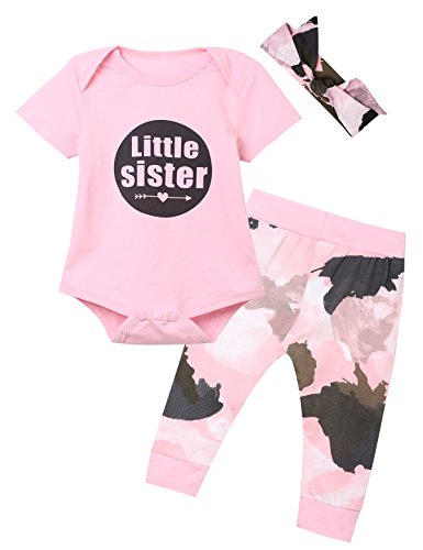 Kewlent Baby Girls' Little Sister 3PCS Outfit Set Short Sleeve Bodysuit Camouflage Pants and Headband (0-3 Months) - Camouflage Outfit