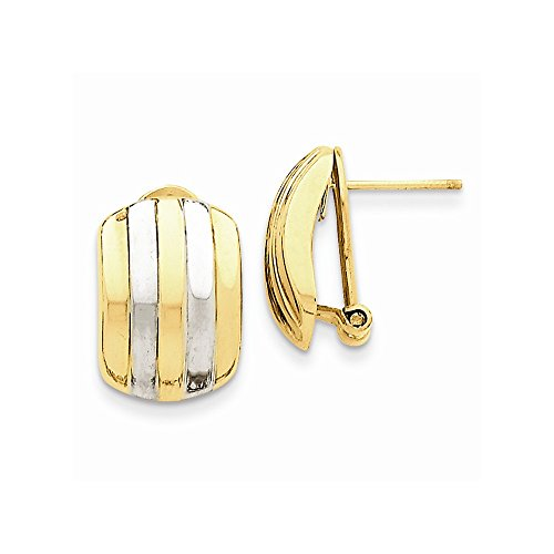 14K Yellow Gold Ribbed Omega Back Post Earrings (17x12mm)
