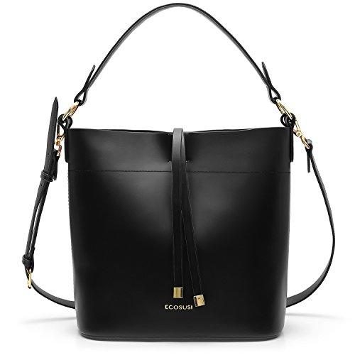 Black Logo Tote - ECOSUSI Bucket Bag Women Top Handle Handbags Satchel Purse Tote Bag Shoulder Bag, Black