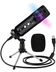 Kamzai USB Microphone for PC and Mac, Professional Condenser Microphone Kit, Professional Recording Plug and Play One Key Mute with Tripod Stand for Computer Laptop Podcasting Streaming Gaming Youtube