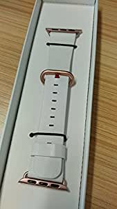 JSGJMY Apple Watch Band 38mm Women White Genuine Leather Loop Replacement Wrist Iwatch Strap for Apple Watch Series 3 Gold