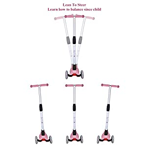 Outon Kick Scooter For Kids 3 Wheel Scooter Lean To Steer 4 Adjustable Height Glider Ride On PU ABEC-7 Flashing Wheels for Children 3-12 Year Old Pink