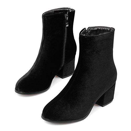YE Damen Chunky Heels Ankle Boots Stiefeletten High Heels mit Reißverschluss Blockabsatz 5cm Elegant Bequem Schuhe Schwarz