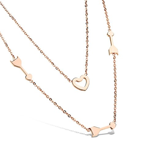 Mandrel Non - TKHNE Rose gold plated steel double necklace pendant clavicle grade stone mandrel Ms necklace pendant not fade hypoallergenic