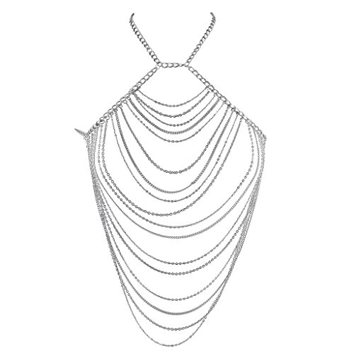 Lux Accessories Silver Tone Chain Swag Halter Bra Shirt Body Jewelry from Lux Accessories