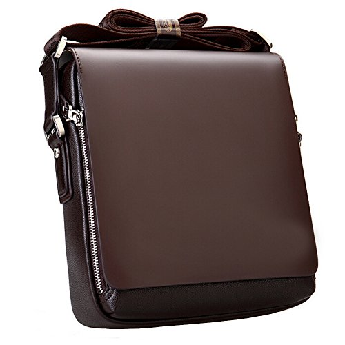 Win8Fong de hombre vertical piel sintética bolsa de hombro bolsas de mensajero marrón