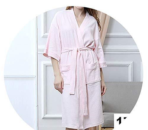 Women 100% Cotton Suck Sweat Towel Bath Robe Sexy Femme Waffle Kimono Bathrobe,Women Pink,XL