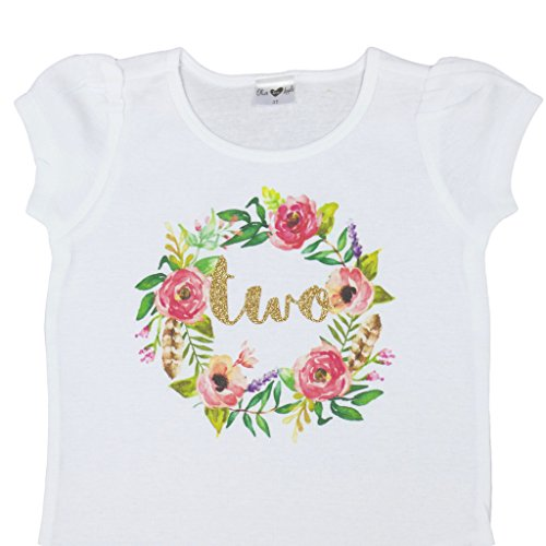 Girls 2nd Birthday Shirt Floral Boho Watercolor Wreath Glitter Gold Two Shirt