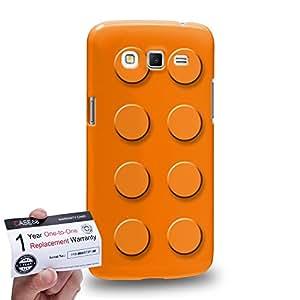 Case88 [Samsung Galaxy Grand 2] 3D impresa Carcasa/Funda dura para & Tarjeta de garantía - Art Fashion Orange Building Blocks