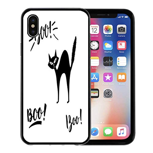Semtomn Phone Case for Apple iPhone Xs case,Animal Boo and Spooky Lettering Black Cat Beast Brush Calligraphic for iPhone X Case,Rubber Border Protective Case,Black