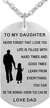 گردنبند آویز الهام بخش سگ استیل ضدزنگ هرگز فراموش نکنید که من شما را به پسرم / دخترم دوست دارم