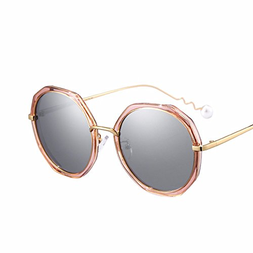 de de El sol Oro XIAOGEGE fashion gafas box sol gris big Gafas Pearl 51qP8