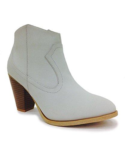 fourever Funky Damen Vegan Leder Chic Nubuk geschoben Ankle Booties, Grau - grau - Größe: 39 EU (M)