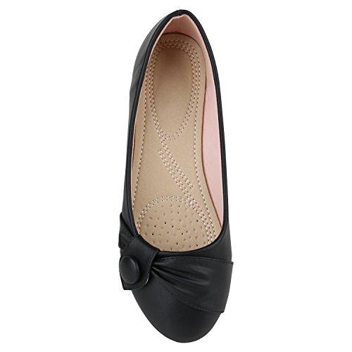 Stiefelparadies Damen Klassische Ballerinas Metallic Slipper Glitzer Slip On Schuhe Strass Flats Übergrößen Abendschuhe Abiball Flandell Schwarz Knopf
