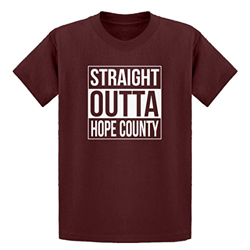 Price comparison product image Indica Plateau Youth Straight Outta Hope County Large Maroon Kids T-Shirt