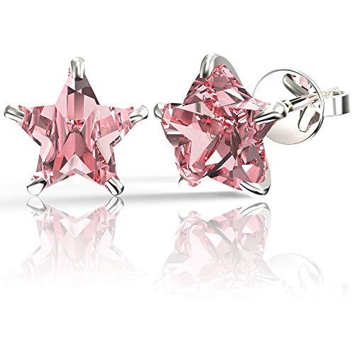 (.925 Sterling Silver Hypoallergenic Pink Cubic Zirconia Star Shape Stud Earrings,)