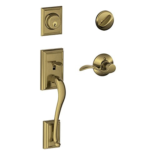Addison Single Cylinder Handleset and Right Hand Accent Lever, Antique Brass (F60 ADD 609 ACC RH)