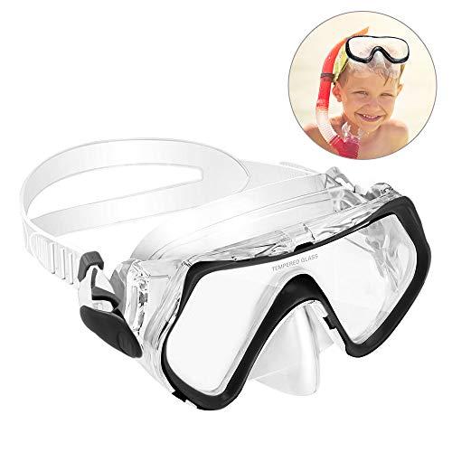 KOROSTRO Taucherbrille Kinder, Schnorchelbrille Schwimmbrille Kindertaucherbrillen Tauchmaske, Wasserdicht, Lecksicher, UV Schutz, Verstellbares Silikonband, Geeignet für 4-10 Jahre