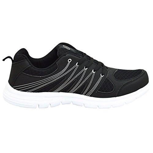 Gym Fitness Workout Men Soft & Comfortable Lace Up Sports Trainers Jogging Shoes (Color: Black) (UK 8) Y3YudR