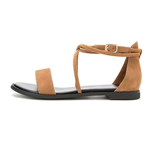 de Las Zapatos Marrón Casuales de Sandalias Mujeres Planas Simples los Sunny Ff1q0pwZ1
