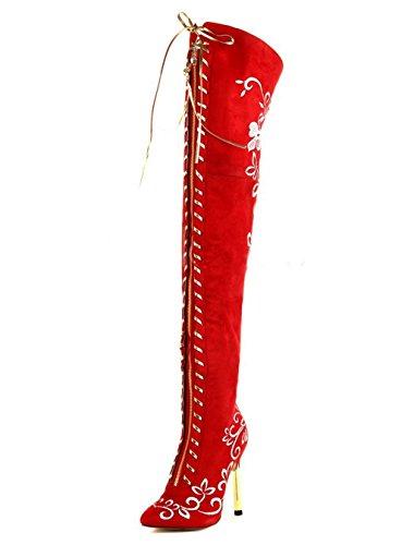 HETAO Stiefel Frauen Stiefel Over The Knee Flache Oberschenkel Hohe Stiefel Mode Elegant Gestickt High Heels Party Abendkleid Hochzeit Rot Geschenk Red
