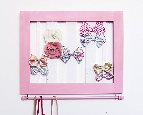 CUSTOM Hair Clip Bow Organizer & Headband Holder/Wood Ribbons Hooks/Large Organizer Handmade/High Quality/Nursery Girls Room Decor/Light Gray or White or Pink Frame Option -