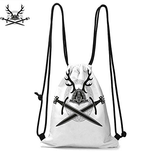- Antler Decor Durable Drawstring Backpack Helmet with Antlers and Viking Swords Celtic Circle Medieval BarbarianSuitable for carrying around W17.3 x L13.4 Inch Black White Silver