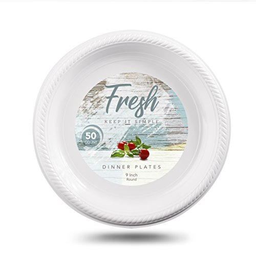 Disposable Dinner Plates by Fresh   9-Inch Dinner Plate Set, Choose White, Red or Green, 50-Count   Fancy Plastic Plates, Premium Quality Disposable Tableware   Polystyrene, 100% Safe -