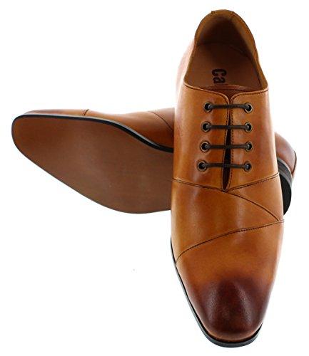 Calden-k3230412-6,6cm Grande Taille-Marron à Lacets Hauteur Augmenter Chaussures ascenseur (rouille)