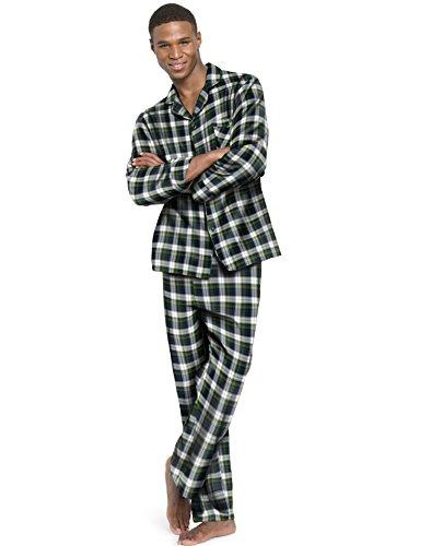 Hanes Men`s Flannel Pajamas, 2XL, Green Plaid