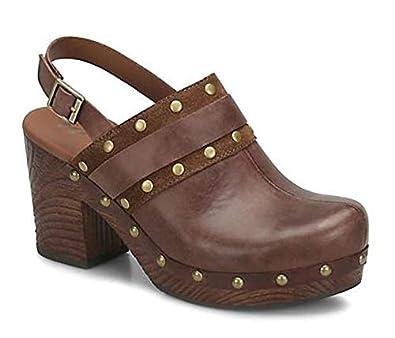 c369f65b8930c KORKS Womens Melrosa Heeled Platform Clogs Leather (6.0) Dark Brown