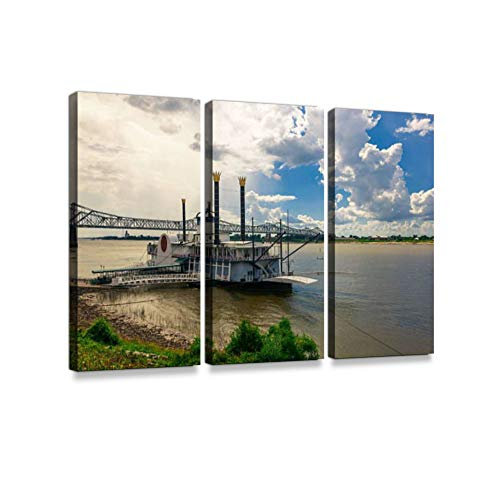 Steam Boat on The Mississippi River Print On Canvas Wall Artwork Modern Photography Home Decor Unique Pattern Stretched and Framed 3 Piece