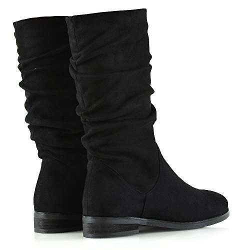 GLAM Faux Womens Rouched Slouch Black ESSEX Boots Faux Calf Winter Shoes Casual Ladies Suede New Mid Suede 10Hqd