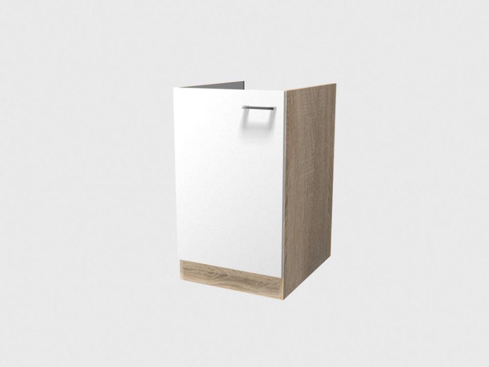 Smartmoebel Spülenunterschrank 50 cm breit ohne Arbeitsplatte ohne Spüle Weiß Sonoma Eiche - Salerno