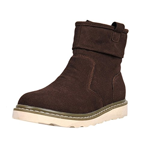 T&Mates Mens Slip-on Warm Fur Lined Casual Round Toe Strap Buckle Flat Ankle Snow Boots (10 B(M)US,Brown)