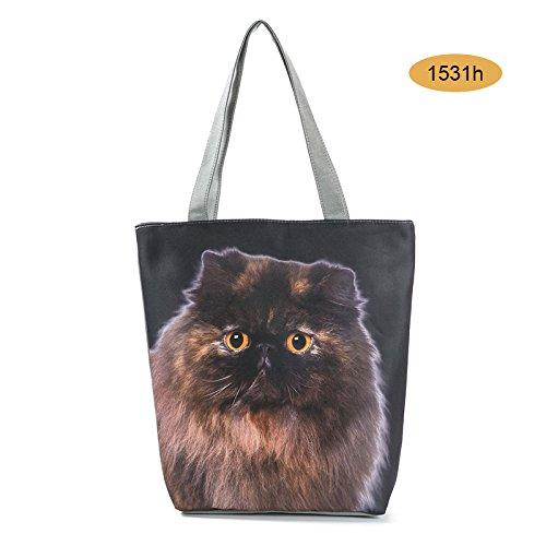Cutogain Woman Tote Sac de toile Chat mignon Chien Imprimé Sac à main Design Animal Plage décontracté Sacs à bandoulière