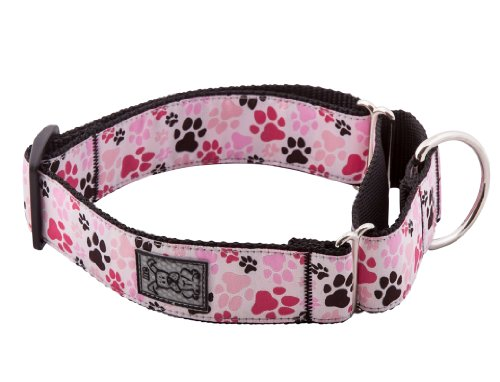 RC Pet Products 1-1/2-Inch All Webbing Martingale Dog Collar, Small, Pitter Patter Pink