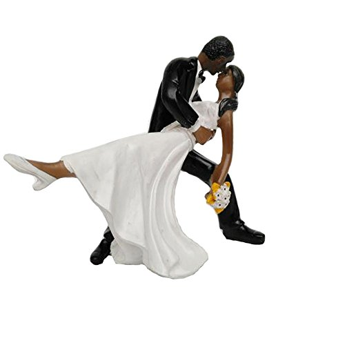 Glitterymall Tango Love A Romantic Dip Dancing African American Couple Cake Topper Figurine for Proposal Wedding Engagement Bridal Shower Wedding Anniversary