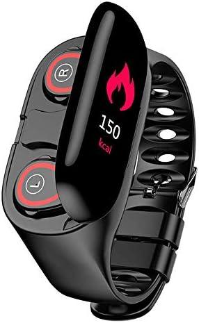 M1 2 in 1 Smart Bracelet Wireless Bluetooth Headset Combo Running Music Wristband Earphone Heart Rate Blood Pressure Fitness Tracker (Black)