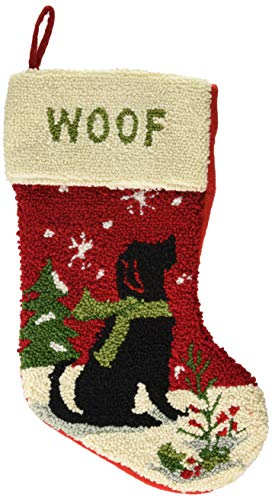 Glitzhome Handmade Hooked Xmas Dog Christmas Stocking 19 Inch