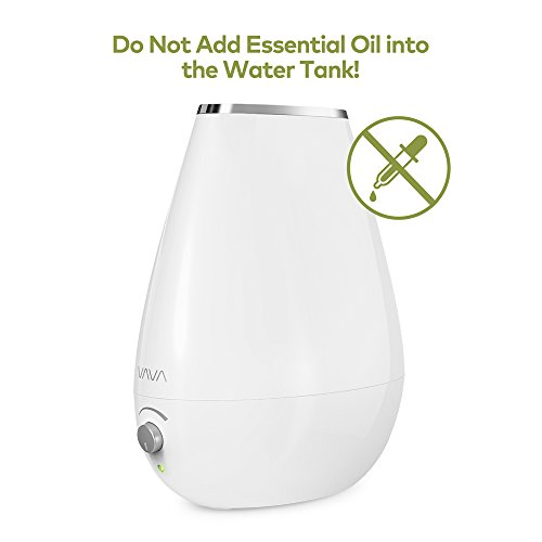 VAVA Cool Mist Humidifier Space-Saving Ultrasonic Bedroom Babies Nursery, Whisper-Quiet, Filter Free, Automatic Shut-Off, 360° Nozzle-(1.8L/0.48 Gallon, US 110V)