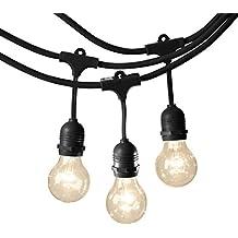 AmazonBasics Weatherproof Outdoor Patio String Lights G60 Bulb, Black, 48-Foot