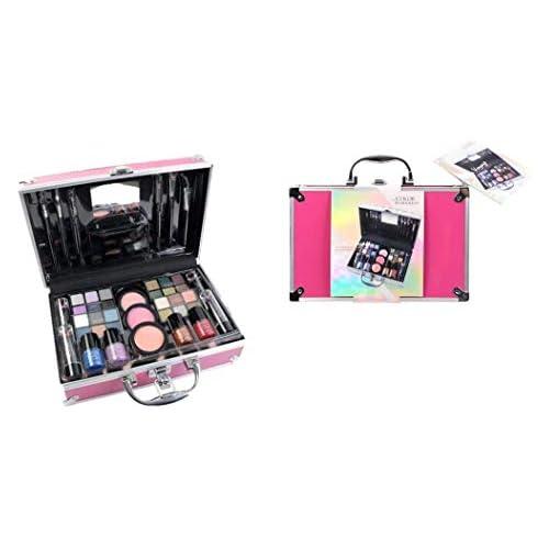 chollos oferta descuentos barato Maletín de Maquillaje Bon Voyage Travel Pink The Color Workshop Un Kit de Maquillaje Profesional Completo en un Gran Maletín Rosa Plateado con Espejo Incluido para Llevar Siempre Contigo
