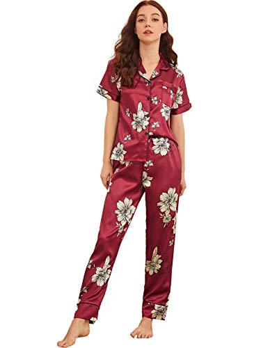 Milumia Women's Pajamas Set Button Down Sleepwear Short Sleeve Nightwear Pants Loungewear Burgundy Medium
