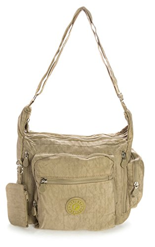 Rainproof Beige Medium Bag Medium Unisex Cross Messenger Shop Body Size Fabric Lightweight Big Handbag Shoulder U1qxA