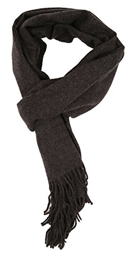 Love Lakeside-Men's Cashmere Feel Winter Solid Color Scarf (One, 0-00 Heathered Charcoal Grey)